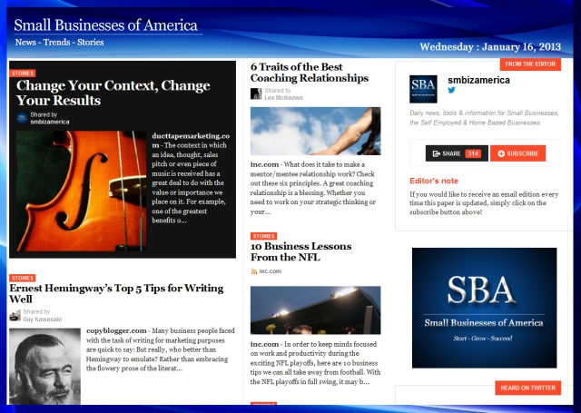 Small Businesses of America 011612