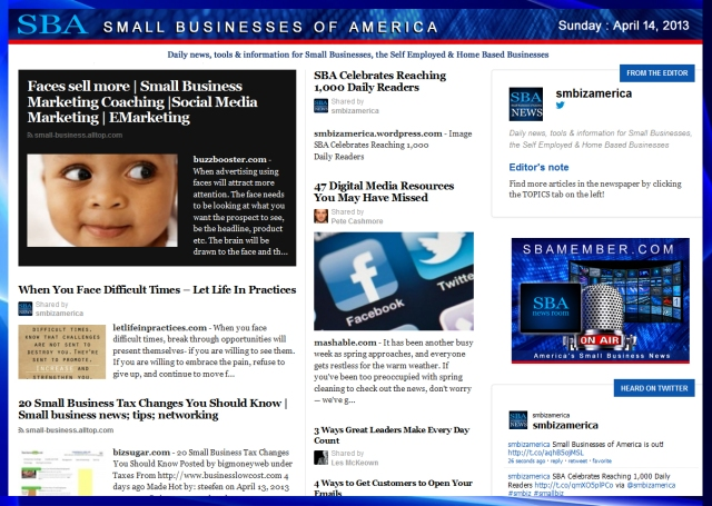 SBA Small Businesses of America 041413 #smbiz #smallbiz #sba #smbizamerica