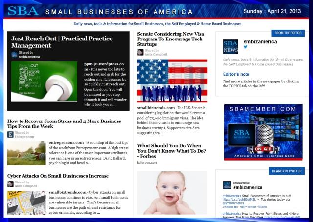 SBA Small Businesses of America 042113 #sbamember #smbizamerica #smbiz #smallbiz