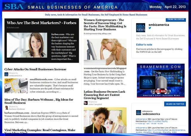 SBA Small Businesses of America 042213 smbiz, smbizamerica, smallbiz, smbizusa