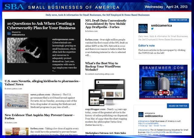 SBA Small Businesses of America 042413 #smbiz #smbizamerica www.sbamember.com