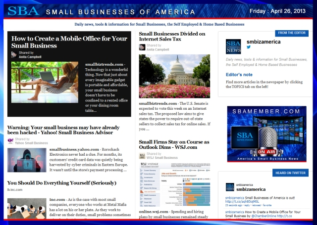 SBA Small Businesses of America 042613 #smbiz #smbizamerica #sbamember
