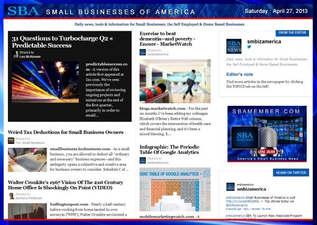 SBA Small Businesses of America 042713 #smbiz #smbizamerica #sbamember