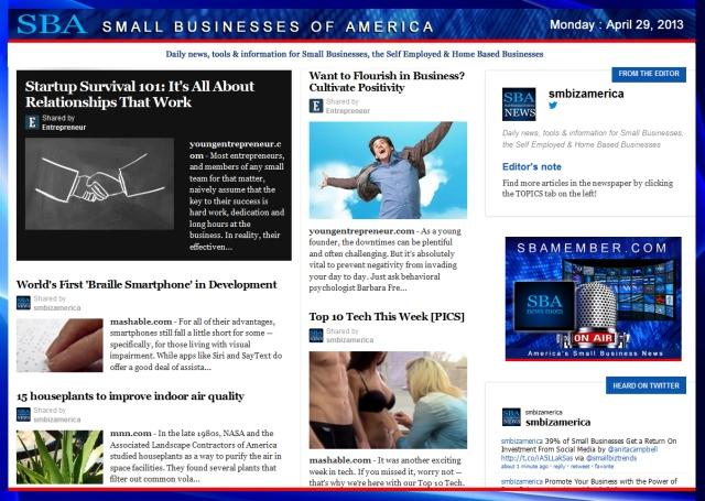 SBA Small Businesses of America 042913 #smbiz #smbizamerica #sbamember.com #sba SBA