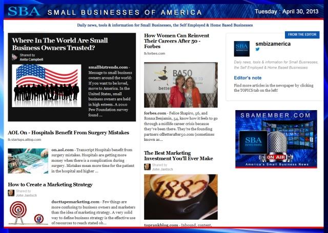 SBA Small Businesses of America 043013 #smbiz #smbizamerica #sbamember.com #sba SBA