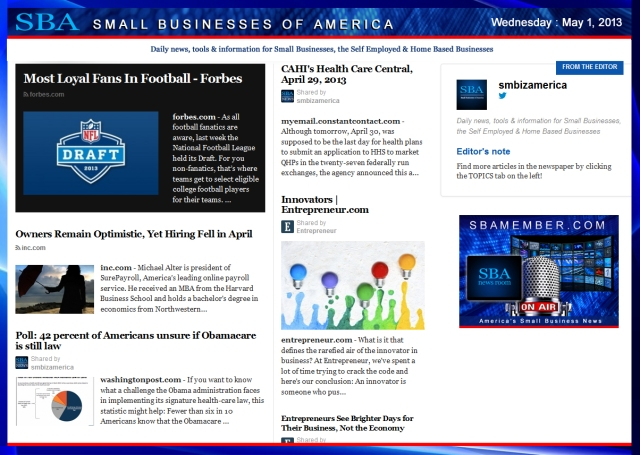 SBA Small Businesses of America 050113 #SBA #smbiz #smallbiz #smbizamerica