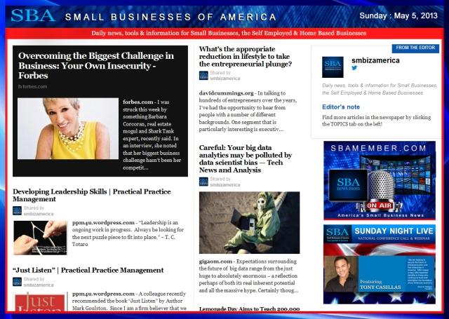 SBA Small Businesses of America 050513 #smbiz #SBA #smallbiz #smbizamerica, sbamember