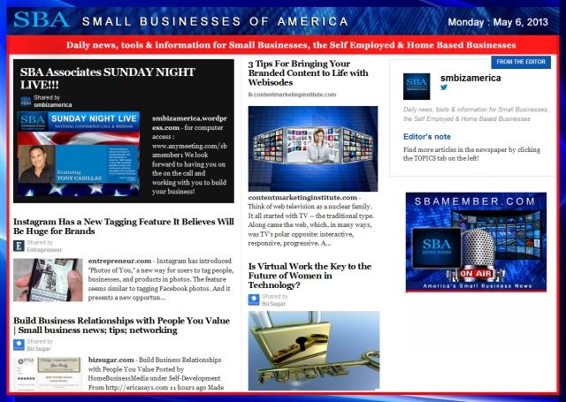 SBA Small Businesses of America 050613 #smbiz #SBA #smallbiz #smbizamerica, sbamember.com #tonycasillas