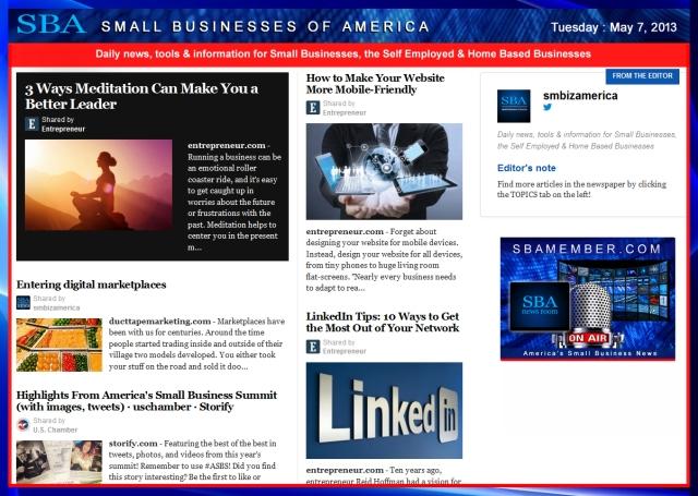 SBA Small Businesses of America 050713 #smallbiz #smbiz #smbizamerica