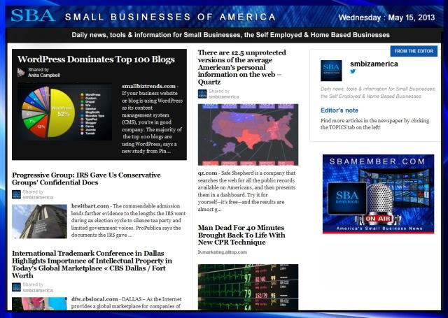 SBA Small Businesses of America 051513 #smallbiz #smbiz #smalllbusiness #news #sba #smbizamerica #smbiznews
