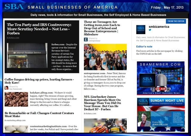 SBA Small Businesses of America 051713 #smallbiz #smbiz #smalllbusiness #news #sba #smbizamerica #smbiznews #johndillon