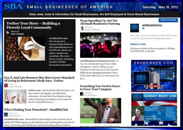 SBA Small Businesses of America 051813 #smallbiz #smbiz #smalllbusiness #news #sba #smbizamerica #smbiznews