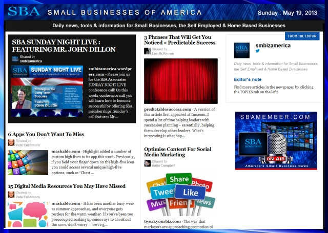 SBA Small Businesses of America 051913 #smallbiz #smbiz #smalllbusiness #news #sba #smbizamerica #smbiznews