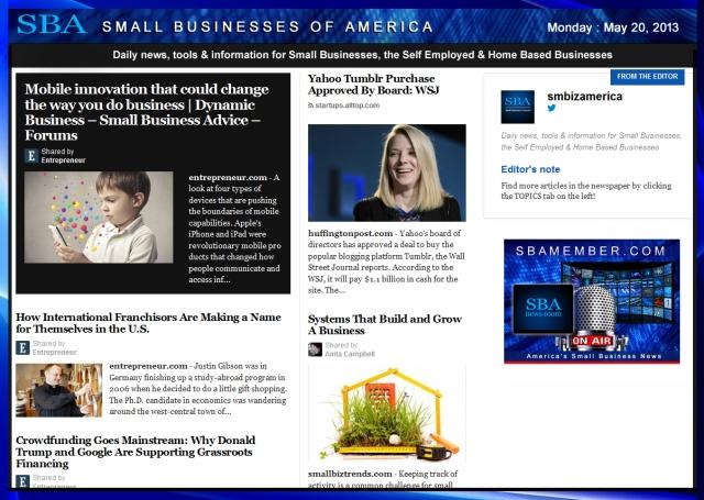 SBA Small Businesses of America 052013 #smallbiz #smbiz #smalllbusiness #news #sba #smbizamerica #smbiznews