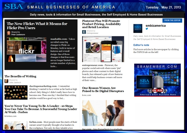 SBA Small Businesses of America 052113 #smallbiz #smbiz #smalllbusiness #news #sba #smbizamerica #smbiznews