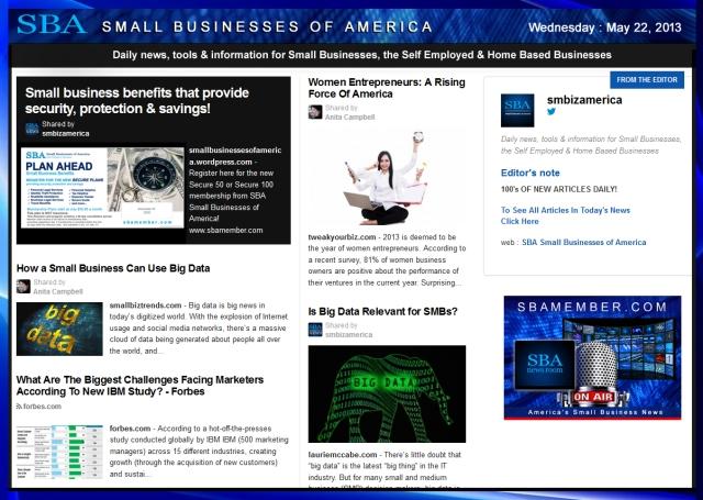 SBA Small Businesses of America 052213 #smallbiz #smbiz #smalllbusiness #news #sba #smbizamerica #smbiznews