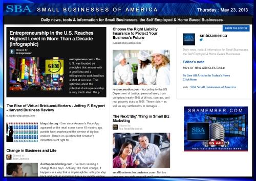 SBA Small Businesses of America May 23 2013 #smallbiz #smbiz #smalllbusiness #news #sba #smbizamerica #smbiznews