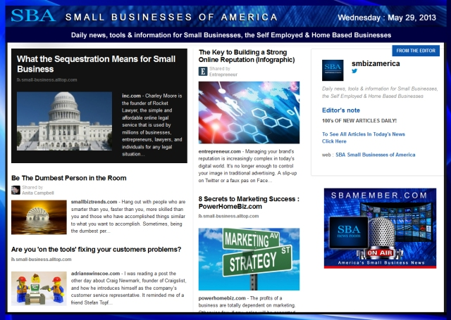 SBA Small Businesses of America 052913 News