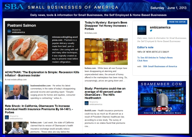 SBA Small Businesses of America 060113 News #smbiz #smallbiz #entrepreneur