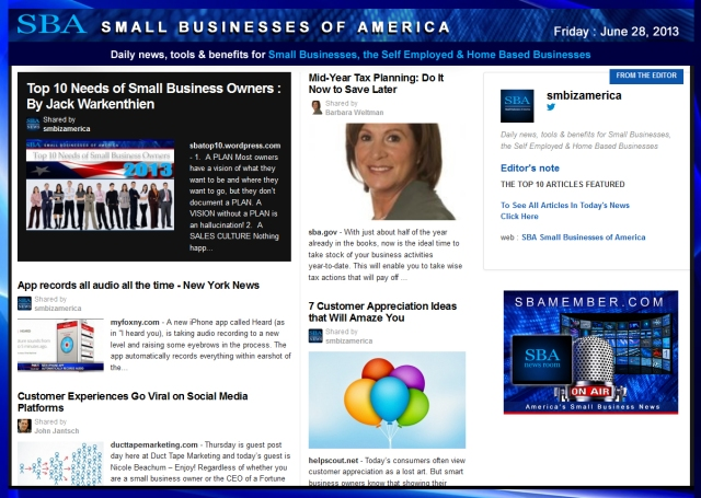 SBA Small Businesses of America 062813