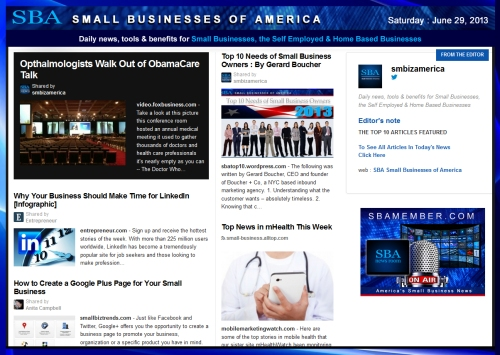 SBA Small Businesses of America 062913