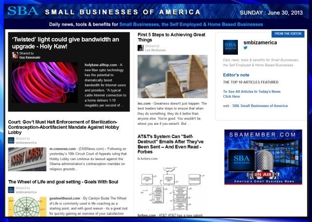 SBA Small Businesses of America 063013