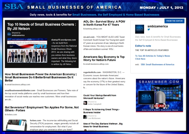 SBA Small Businesses of America 070113 smallbiz smbiz entrepreneur