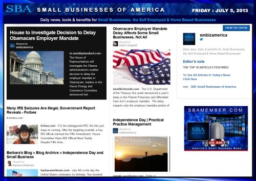 SBA Small Businesses of America 070513 smbiz smallbiz news
