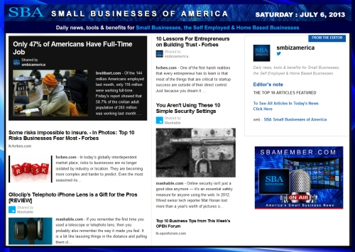SBA Small Businesses of America 070613 smbiz smallbiz news