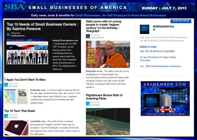 SBA Small Businesses of America 070713 smbiz smallbiz news entrepreneur
