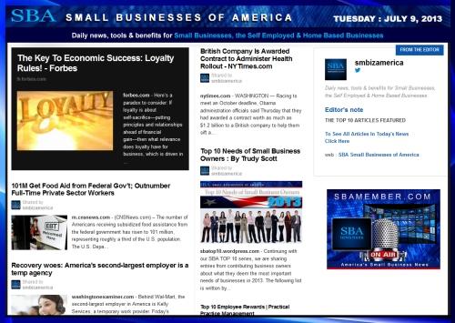 SBA Small Businesses of America 070913 smbiz smallbiz news smb