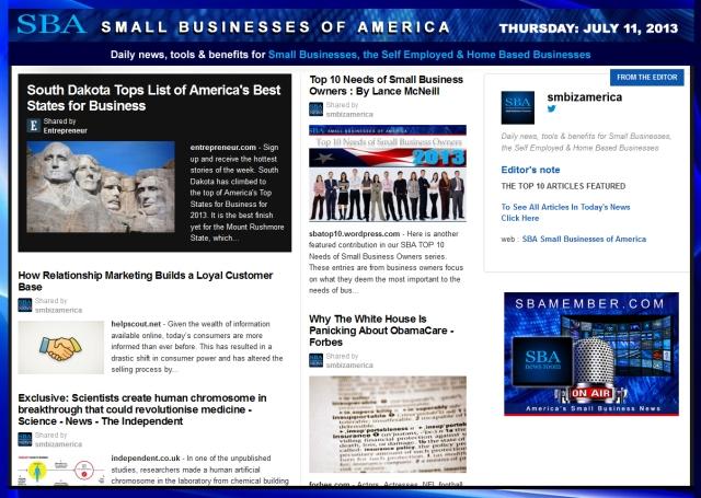 SBA Small Businesses of America 071113 #smb #smallbiz #news #smbiz
