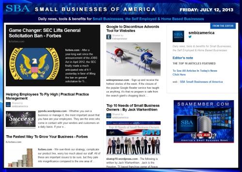SBA Small Businesses of America 071213 #smb #smallbiz #news #smbiz #smbizamerica