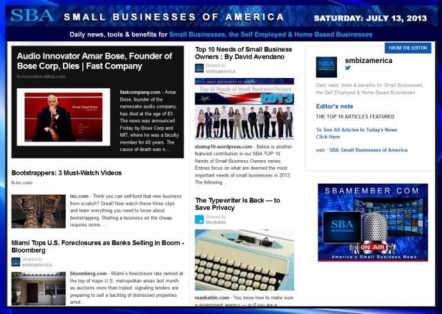 SBA Small Businesses of America 071313 #smb #smallbiz #news #smbiz #smbizamerica