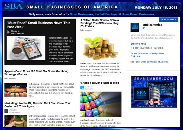 SBA Small Businesses of America 071513