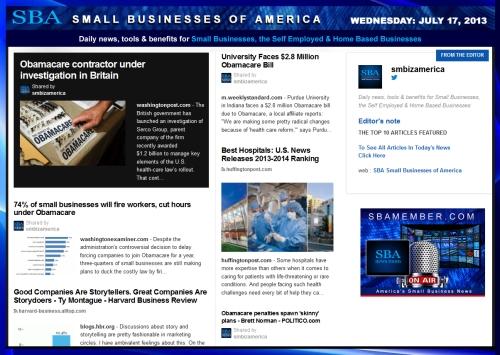 SBA Small Businesses of America 071713 #smb #smallbiz #news