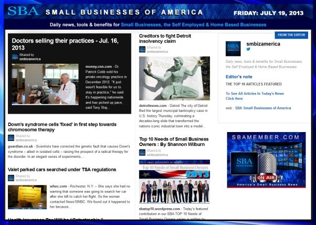 SBA Small Businesses of America 071913