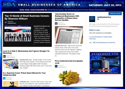 SBA Small Businesses of America 072013