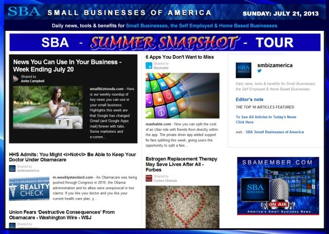 SBA Small Businesses of America 072113