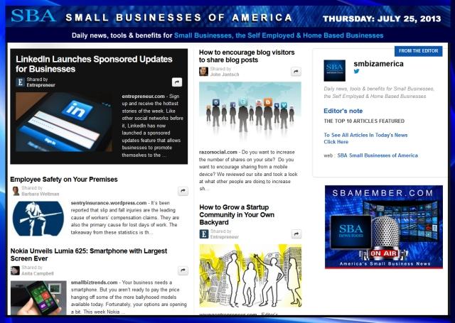 SBA Small Businesses of America 072513 smbiznews
