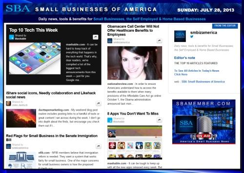SBA Small Businesses of America 072813 smbiznews