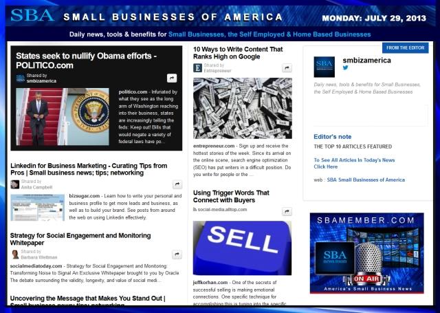 SBA Small Businesses of America 072913 smbiznews
