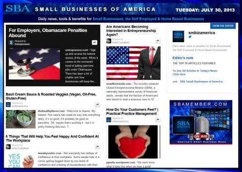 SBA Small Businesses of America 073013 smbiznews