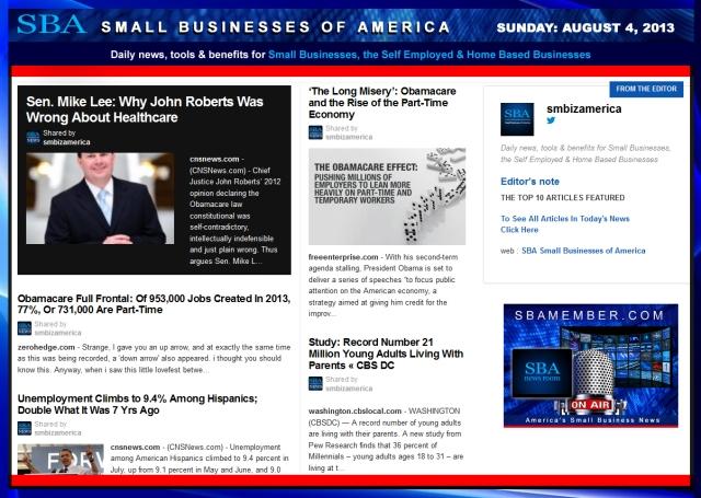 SBA Small Businesses of America 080413