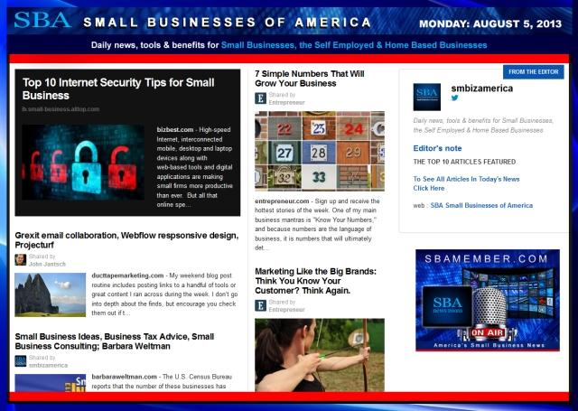 SBA Small Businesses of America 080513
