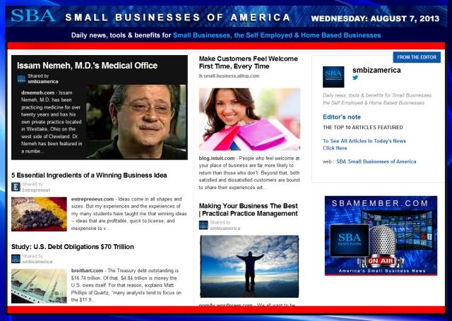 SBA Small Businesses of America 080713