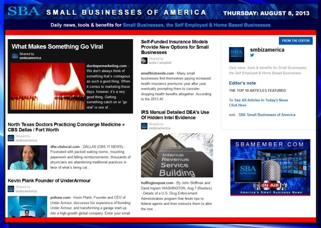 SBA Small Businesses of America 080813