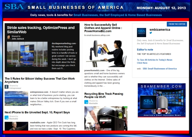 SBA Small Businesses of America 081213 SMBIZ