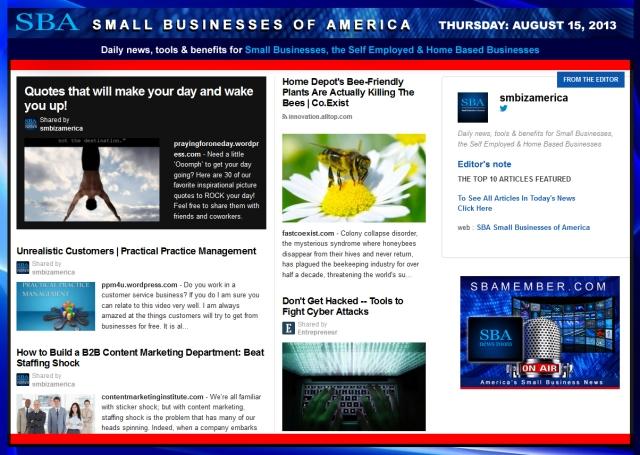 SBA Small Businesses of America 081513 smbiz smallbiz news smbizamerica entrepreneur