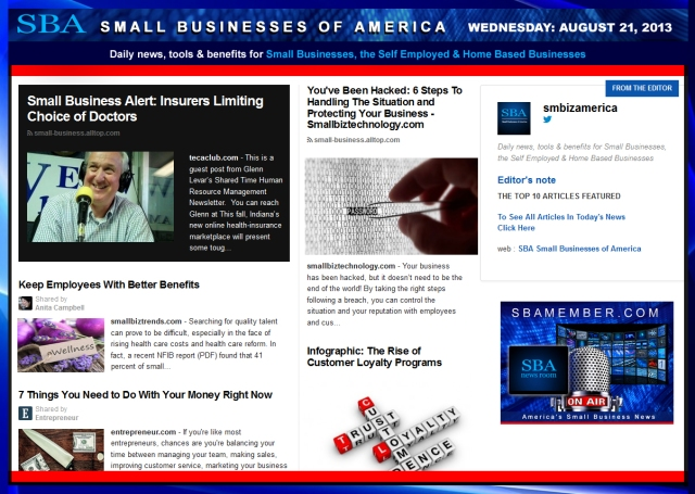 SBA Small Businesses of America 082113 news